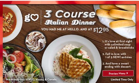 olive garden 3 course meal for just 12 95