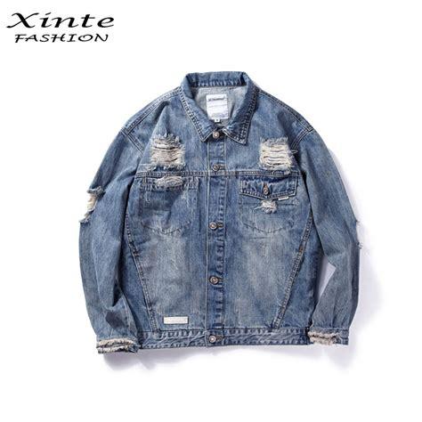 Ripped Washed Jaket size 2017 denim jacket outwear ripped streetwear washed blue fashion in