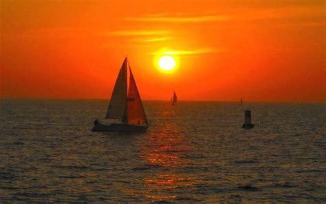 hd sunset sailing wallpaper