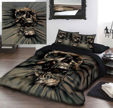 skull bedding king skull rip thru duvet cover set for kingsize bed artwork by david penfound ebay