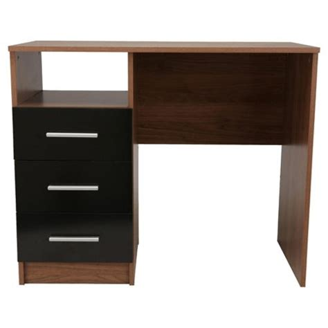 Black Gloss Desk With Drawers buy jazz 3 drawer desk walnut black gloss from our chests