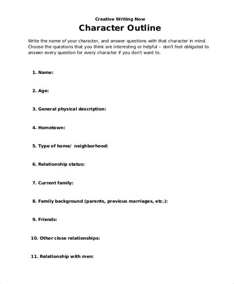 character outline template character outline templates 7 free word pdf format