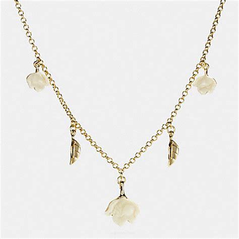 Leaf Flower Necklace resin leaf and flower necklace f54507 gold coach