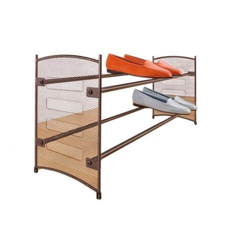 shoe storage target lynk expandable stackable mesh shoe rack bronze target