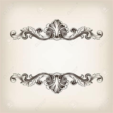 baroque pattern frame vintage border frame filigree engraving with retro