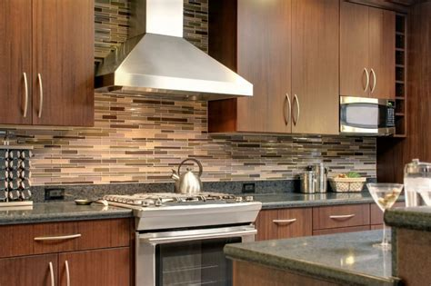 black white grey mosaic ceramic backsplash tile with kitchen hoods granite countertop brown l