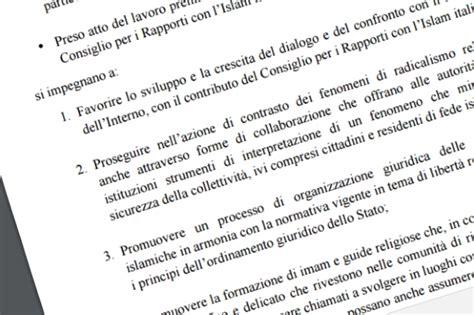 testo immigrazione il testo integrale patto per un islam italiano il