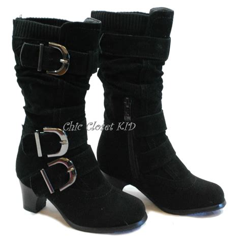 kid high heel shoes youth jr pretty winter buckle low high