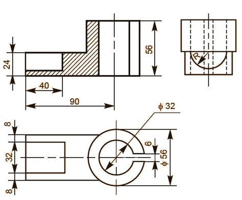 sectional orthographic sectional view solved exles orthographic projections