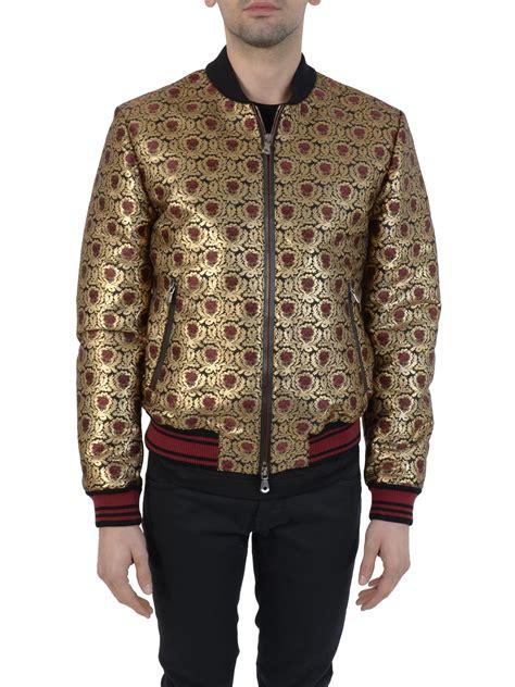 gold patterned bomber jacket dolce gabbana dolce gabbana gold jacquard bomber