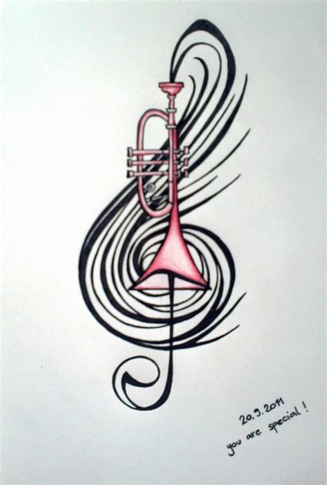 trumpet tattoo designs trumpet drawing for my s b day drawling