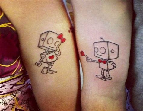 couple tattoo locations cool tattoo design ideas cute his and her robot couple