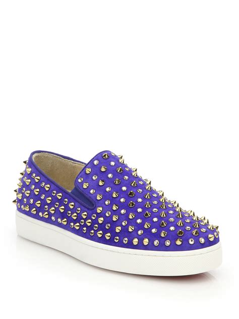 christian louboutin sneakers for christian louboutin roller flat studded suede slip on