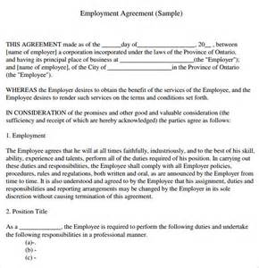 Marriage Contract Ontario Template by Sle Employment Agreement 7 Documents In Pdf Word