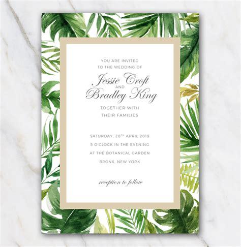 free hawaiian themed wedding invitations tropical palm tree leaves wedding invitation template 100