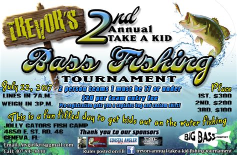 2nd Annual Trevor S Take A Kid Bass Fishing Tournament
