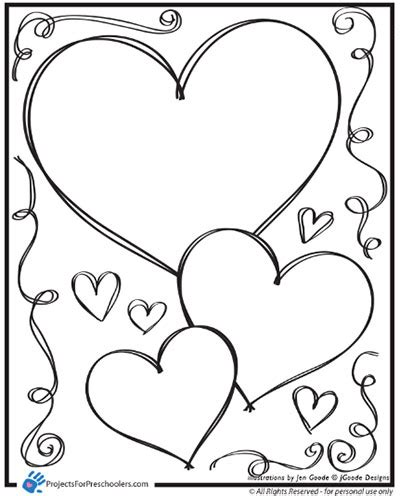 heart pattern for preschool valentine heart and swirls coloring page by projects for
