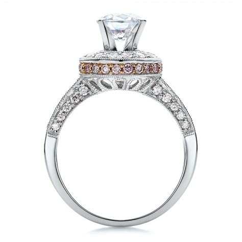 two tone gold and halo with pink diamonds