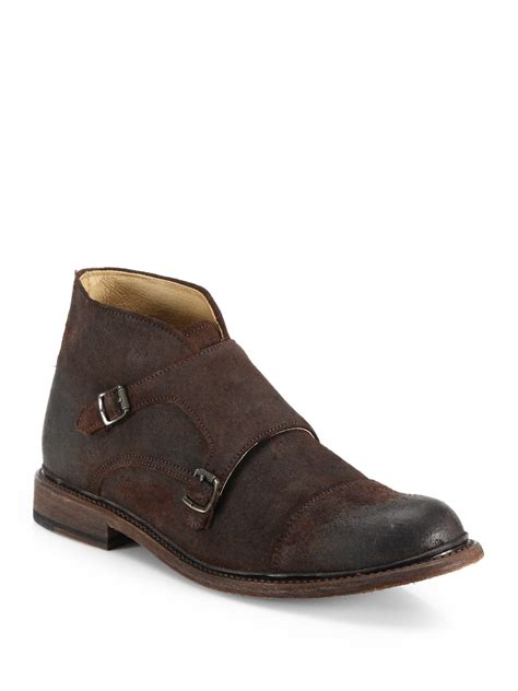 Kickers Slop Suede Leather 02 Black Brown 1 Ca6010 frye waxed suede monk chukka boots in
