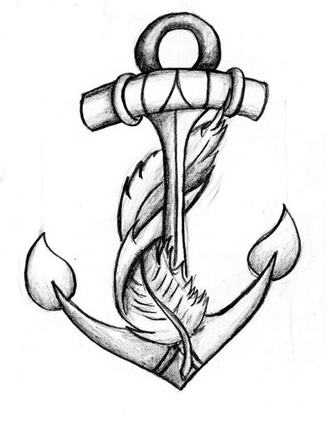 anchor pattern drawing anchor feather tattoo big possibility combines my two