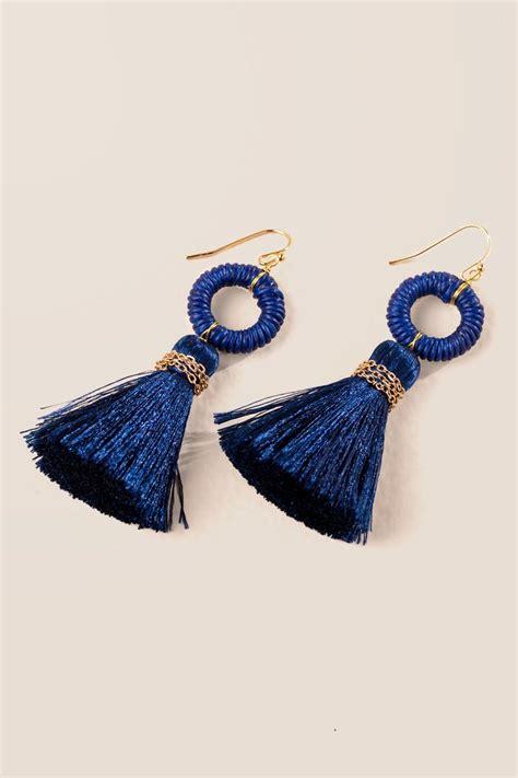 Circle Tassel Earrings arden circle tassel earrings in navy s