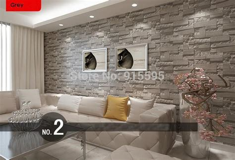 stacked brick  stone wallpaper modern wallcovering pvc