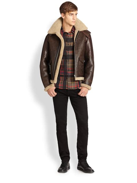 Jaket Bomber Scrimmers Brown Wood lyst burberry brit ormsby leather shearling aviator