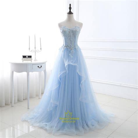 light blue tulle dress light blue strapless lace applique sequin embellished