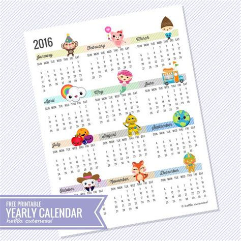 printable calendar year at a glance 2016 year at a glance calendar 2016 free printable calendar