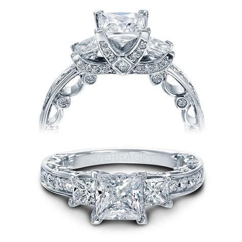 verragio engagement rings gold princess cut setting