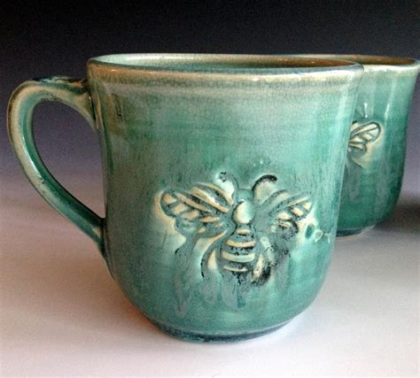 Handmade Mug - ready to ship bee mug stoneware mugs handmade mugs by leslie