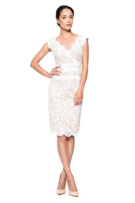 embroidered lace  neck dress tadashi shoji