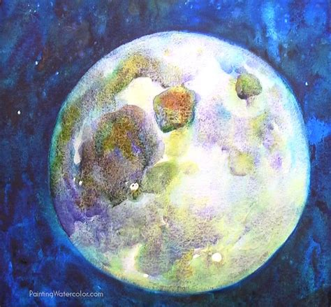 watercolor moon tutorial how to paint a full moon