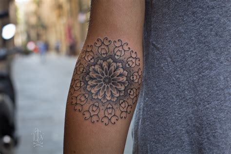 right arm tattoos grey ink mandala on right arm