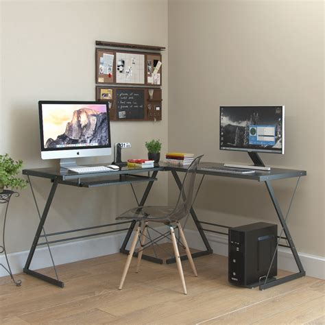l shaped computer desk black l shaped computer desk in black