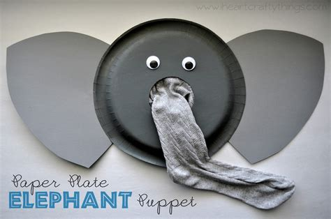 Elephant Paper Craft - paper plate elephant puppet tutorial i crafty things