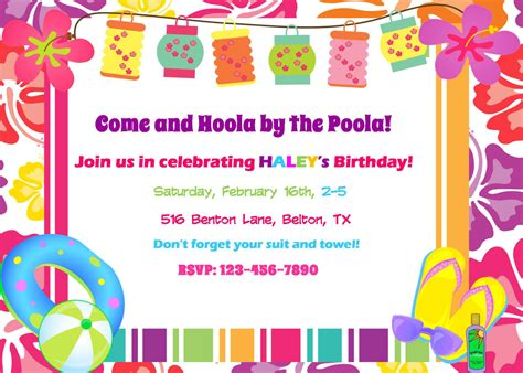 Come With Me Pool Invites by Extraordinary Hawaiian Pool Invitations 4 For Newest