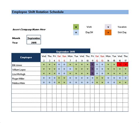 On Call Schedule Template Excel Schedule Template Free Shift Roster Template