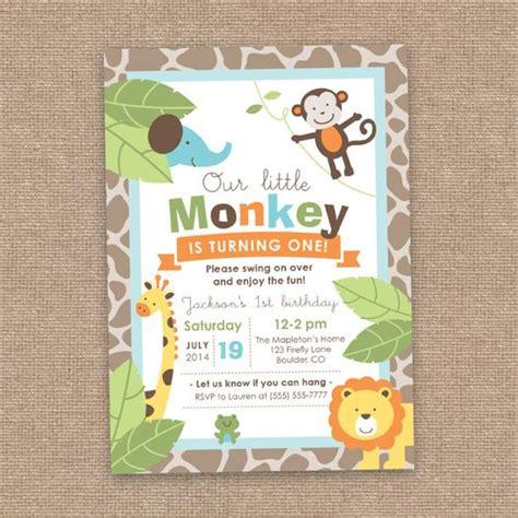 printable jungle birthday invitations first girl birthday monkey jungle animals invitation
