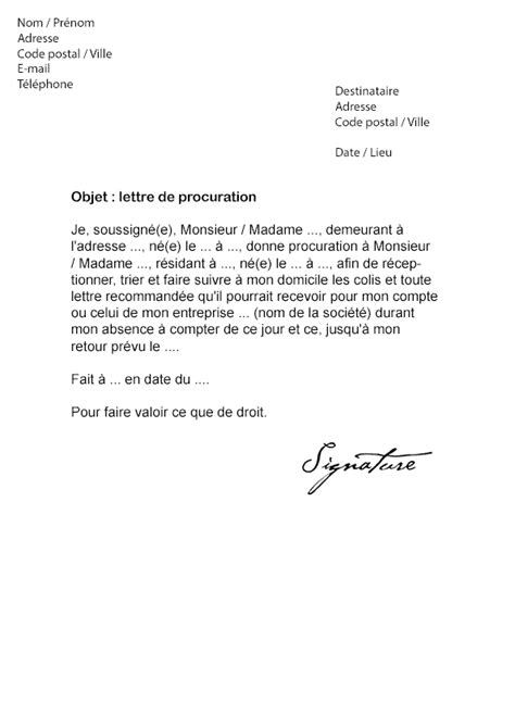 lettre de procuration la poste mod 232 le de lettre