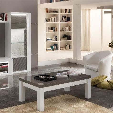 Grey Gloss Living Room Furniture Coffee Table Rectangular In White And Grey High