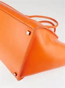 Bright Totes By Zagliani At Matches by Bright Orange Satinated Calfskin Leather Medium
