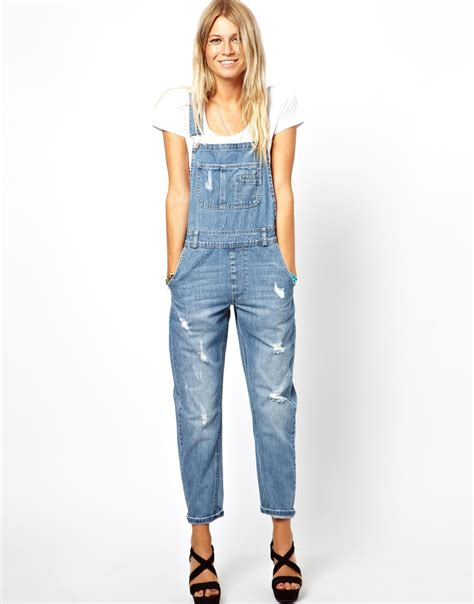 Ripped Denim Overall Shorts how to wear ripped denim dungarees 2018