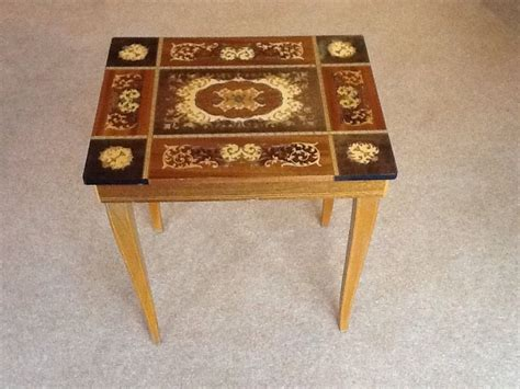 Musical Table by Vintage Inlaid Wood Marquetry Musical Sewing Table Ebay