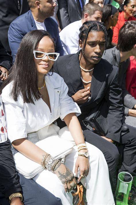 rihanna  rapper aap rocky sit front row  louis