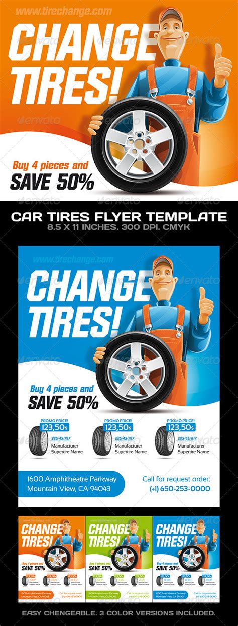 Car Tires Car Service Flyer Template Graphicriver Free Tire Shop Website Template