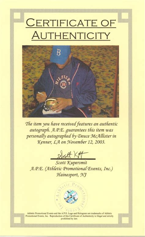 certificate of authenticity autograph template certificate of authenticity template images
