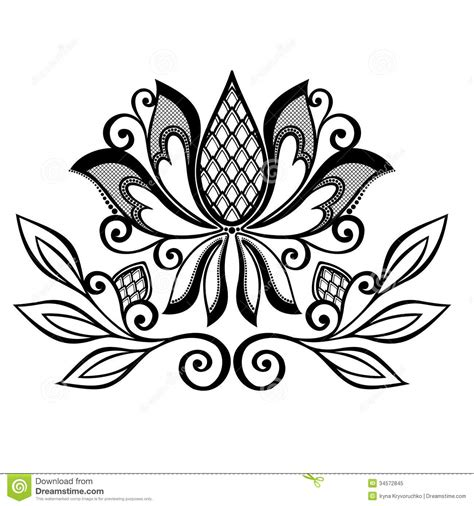 Decorative Flower With Leaves Stock Vector Illustration