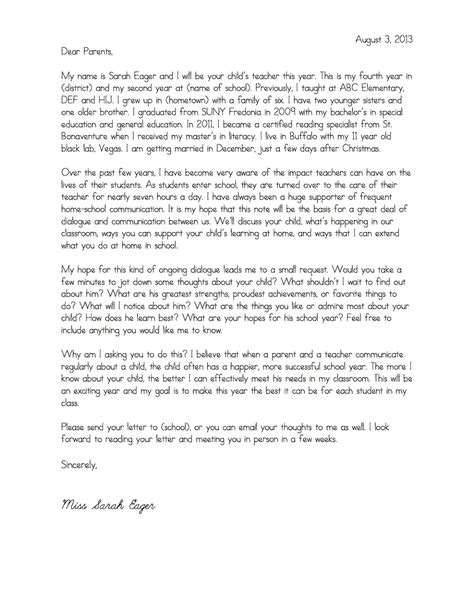 College Student Letter To Parents A Special Sparkle Back To School Welcome Letters