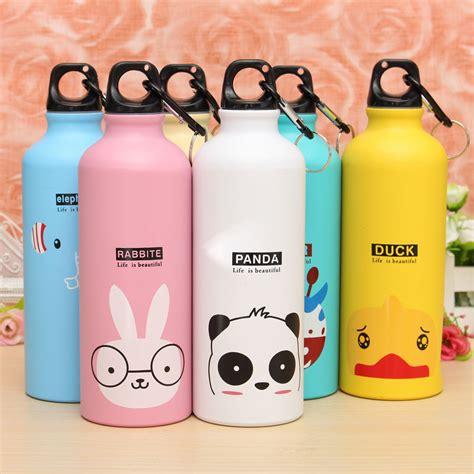 Botol Minum Kartun 500ml Dengan Karabiner Pink 2 botol minum kartun 500ml dengan karabiner pink